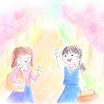 桜の下女の子が二人の絵